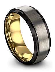 cheap -tungsten wedding band ring 8mm for men women 18k yellow gold plated step bevel edge black grey brushed polished size 9.5