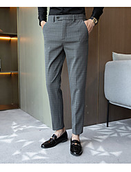 cheap -Men's Suits Notch Standard Fit No Buttons Checkered Spandex Polyester