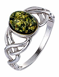 cheap -sterling silver and baltic green amber ring celtic knots- size 6.5