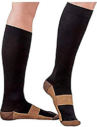 cheap -copper compression socks for men women 10-20 mmhg below knee over the calf for sports medical travel (black/copper, small)