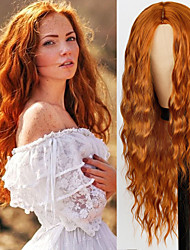 cheap -Pure Red Black orange Color Long Water Wave Hairstyle Wigs For Women Synthetic Hair High Temperature Fiber Average Size