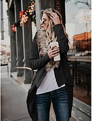cheap -Women's Stylish Fur Trim Knitted Asymmetric Hem Solid Color Cardigan Long Sleeve Sweater Cardigans Shirt Collar Fall Winter Black Khaki