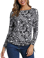 cheap -women's long sleeve boat neck drawstring floral tops (xl, 2)