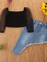 cheap -Kids Toddler Girls' Clothing Set Solid Colored Long Sleeve Cotton Black Basic Regular Short