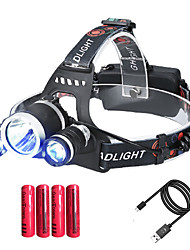 cheap -t1 Headlamps Waterproof 150 lm LED LED 3 Emitters 4 Mode with Batteries and Chargers Waterproof Adjustable Camping / Hiking / Caving Cycling / Bike Ordinary model [bare lamp] 20W 1T6