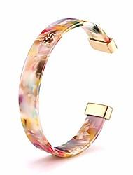cheap -open cuff bracelet statement acrylic resin lucite cuff bracelet minimalist tortoise shell bangles bracelet adjustable lightweight bangle (floral)