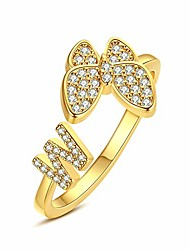 cheap -hobt initial letter ring butterfly ring initial knuckle open cz ring bands for women teen girls alphabet letter w