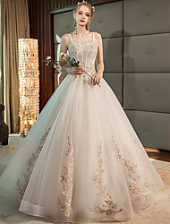 cheap -Ball Gown Wedding Dresses Spaghetti Strap Floor Length Lace Tulle Sleeveless Formal Romantic with Ruffles Appliques 2020