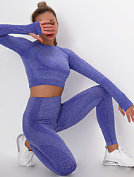 cheap -Women's 2pcs Yoga Suit Summer Seamless Thumbhole Fashion Leggings Crop Top Clothing Suit Purple Pink Fitness Gym Workout Running High Waist Tummy Control Butt Lift Quick Dry Long Sleeve Sport