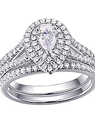 cheap -newshe wedding engagement ring for women bridal set 925 sterling silver 1.3ct pear white aaa cz size 5