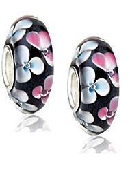 cheap -set of 2 white jasmine flower murano glass charm bead