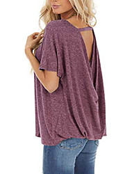 cheap -women's short sleeve top round neck tee cutout back twist loose t shirts(wine red 2xl)