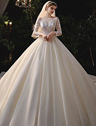 cheap -Princess Ball Gown Wedding Dresses Jewel Neck Chapel Train Tulle Sequined Sleeveless Formal Romantic Luxurious Sparkle & Shine with Crystals 2020