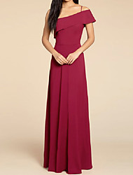 cheap -A-Line One Shoulder / Spaghetti Strap Floor Length Stretch Satin Bridesmaid Dress with Pleats