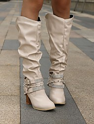 cheap -Women's Boots Chunky Heel Round Toe Knee High Boots Casual Daily Walking Shoes PU Rhinestone Rivet Buckle Solid Colored Winter Gray White Black