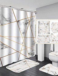 cheap -4 PCS Bathroom Decoration Shower Curtain Set Polyester Contain with Hook Non-slip Bath Mat Toilet Lid and Waterproof Bathroom Rug Set with Hooks 3D Digital Printed