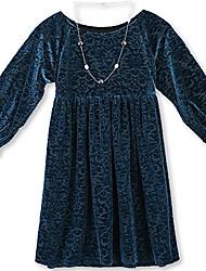 cheap -big girls flocked velvet dress, teal, 14