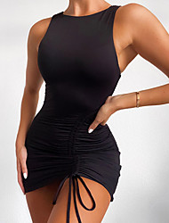 cheap -Women's Sheath Dress Short Mini Dress - Sleeveless Solid Color Ruched Summer Sexy Party Slim 2020 White Black Navy Blue S M L XL