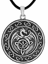 cheap -dragon necklace - metal alloy, celtic dragon medallion pendant - pu leather cord, 19.7""