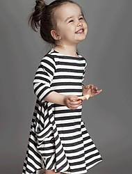 cheap -Kids Toddler Girls' Cute Black & White Striped 3/4 Length Sleeve Midi Dress White