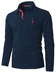 cheap -polo shirt men's long-sleeved golf t-shirt with fashion giraffe embroidery polos (xxl, blue + red)