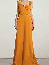 cheap -A-Line Scoop Neck Floor Length Chiffon Bridesmaid Dress with Ruching / Bandage