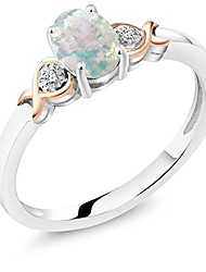 cheap -925 sterling silver and 10k rose gold ring white opal with diamond accent 0.63 cttw (size 5)
