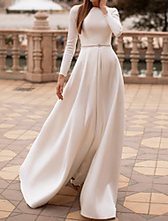 cheap -A-Line Wedding Dresses Jewel Neck Floor Length Satin Long Sleeve Country Simple with Sashes / Ribbons Buttons 2021