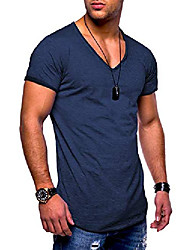 cheap -men's short-sleeved basic t-shirt v-neck neckline oversize look 20-0002 (s, navy_washed)