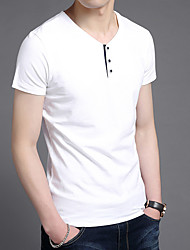 cheap -men fashion casual basic short sleeve henley t-shirts soft  tee shirts slim fit, white, m