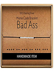 cheap -bad ass morse code bracelet 925 sterling silver handmade 14k real gold plated bead adjustable string bracelets inspirational jewelry for women