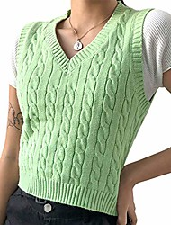 cheap -womens argyle sweater vest y2k style young girls sleeveless knitted diamond plaid solid v-neck crop top (plain green, s)