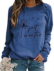 cheap -women just breathe dandelion sweatshirt crew neck long sleeve tops pullover jumper blouse shirt