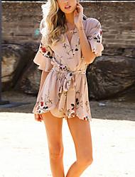 cheap -Women's Sundress Short Mini Dress White Black Khaki Half Sleeve Print Lace up Print Summer V Neck Casual 2021 S M L XL XXL