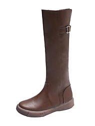 cheap -Women's Boots Flat Heel Round Toe Knee High Boots Minimalism Daily Walking Shoes PU Buckle Solid Colored Dark Brown Black