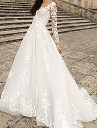 cheap -A-Line Wedding Dresses V Neck Floor Length Lace Tulle Long Sleeve Country with Appliques 2021