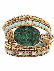cheap -handmade leather 5 wraps bracelet jasper beads multi-layer yoga bracelets mix colorful gemstone healing bracelets