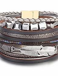 "cheap -boho leather wrap bracelet crystal leaf cuff bracelets bohemian jewelry with magnetic clasp,7.5""(gray)"