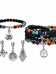 cheap -7 chakra reiki healing crystal bead charm bracelet necklace set lava rock stone aromatherapy essential oil diffuser stretch bracelets necklaces with 5 replaceable charms
