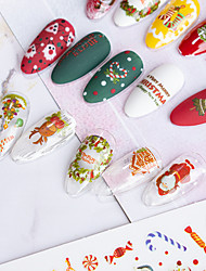cheap -6 pcs Christmas Children Nail Stickers Nail Art Christmas Stickers Ornaments 3D Decals
