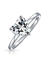 cheap -925 sterling silver heart shaped cz solitaire engagement ring 2ct