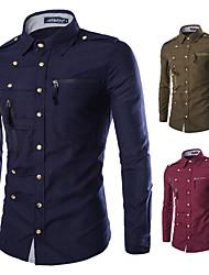 cheap -men's dress shirt long sleeve fashion multi zipper button down casual shirt black