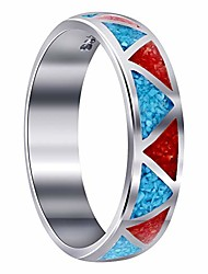 cheap -southwestern style turquoise and coral gemstone wedding band sterling silver unisex ring size 6.5