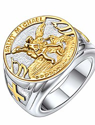 cheap -saint michael the archangel catholic medal stainless steel amulet ring mens fashion 18k gold plated patron rings