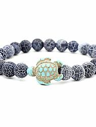 cheap -8mm lava rock beads chain turtle charm bracelet for women men – black green white blue stone beads-adjustable stretch bracelet (blue)