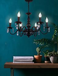cheap -6-Light 62 cm Crystal Candle Style Chandelier Metal Black Chic & Modern 110-120V 220-240V