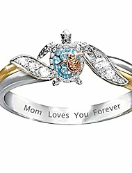 cheap -turtle animal rings for women cz crystal letter mom loves you forever tutrle ring mother birthday gift family jewelry size 10