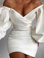 cheap -Women's Sheath Dress Knee Length Dress - Long Sleeve Solid Color Backless Fall V Neck Sexy Slim 2020 White Black Red S M L XL