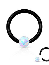 cheap -opal captive bead ring 16g 316l surgical steel (black)