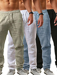 cheap -men's linen pants casual long pants - loose lightweight drawstring yoga beach trousers casual trousers - 6 colors blue